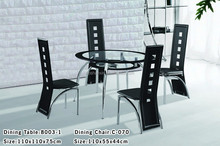 Modern round extendable dining table and chair sets