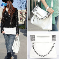 New Fashion Korean Style Lady Women Synthetic Leather Handbag Shoulder Bag Purse White