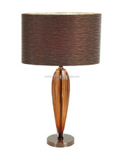 Metal base tea color Glass Table Lamp with brown silk shade