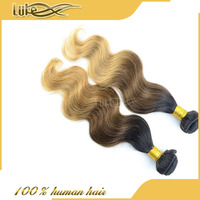 new arrival fast shipping sew in weave various textures rich color ombre three tone body wave virgin Brazilian human hair