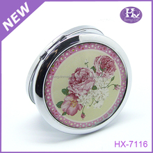 HX-7117 Wholesale custom design your own unbreakable Silver rose metal compact mirror