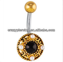 Faux Pearl Inlay Gold Plated free belly button rings