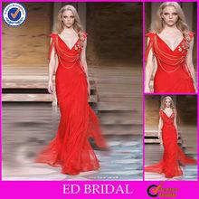 Cuello vestido de estilo árabe Sexy V gasa delgada de noche rojo
