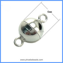 Wholesale White Gold Plated 6mm 8mm 10mm 12mm 925 Sterling Silver Round Ball Magnetic Clasps For DIY Jewelry SC-MC005
