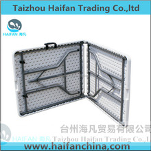 6ft 183cm outdoor strong plastic folding in half table/6ft 183cm 72inches length PE table top with stainless legs