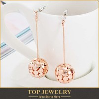 Wholesale new fashion gold plated rolled gold earring for women with long dangle design l'oreal social audit factory TOPER-01726
