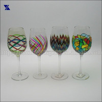 Hand blown painted wine glass
