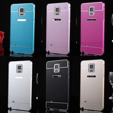 Metal Aluminum Bumper Case +Acrylic Glass Back Cover For Samsung Galaxy Note 4