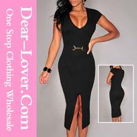 Wholesale Black Belted Front Slit latest fashion dresses