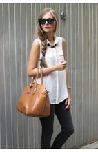 2014 chaleco de la moda camisas sin mangas a su vez- edredones cuello europea las señoras blusa de gasa 6325 tops