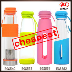 Promotional 2015 new design large capacity glass water bottles with stainless steel and silicone