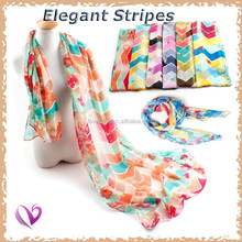 100% voile european style striped instant shawl scarf Newest design