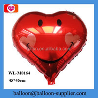 Party decorations 18 inch red big smiley face heart shape China mylar balloon
