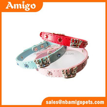 faux leather dog collar,crown decoration rhinestone dog collar wholesale