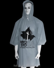 PE rain poncho for adult with sleeve