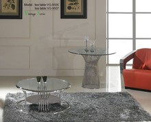 Triumph SS201polished stainless steel coffee table base / round tempered glass tea table metal base living room