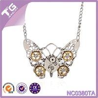 Wholesale butterfly 2016 steampunk pendant necklace