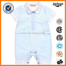 Alibaba baby clothing wholesale 2015 Soft Seersucker New Born Baby Boys Pale Blue Striped Rompers