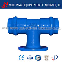Double pvc socket with flange branch tee ductile iron pipe fitting