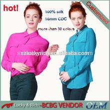 2014 nuevo proveedor de china de multi- colores de alta calidad al por mayor ropa las mujeres camisa a medida