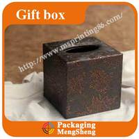 Stylish brown artificial leather box for packaging and storage