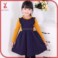 HLL62 Girls Spring 2015 mixed colors fashion long-sleeved knitted dress