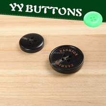 laser engraved imitated horn button, resin coat button