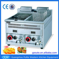 2015 Popular Frying Machine Counter Top Double Tank Potato Chips Making Gas Fryers