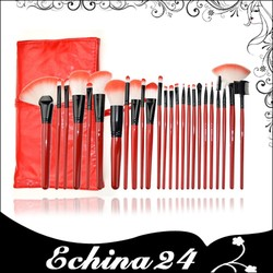 Syethnic Hair Wood Handle Red 24 Cosmetic Make Up Brushes Set with Red Soft PU Leather Bag