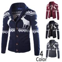New High quality deer design men's cardigan sweaters