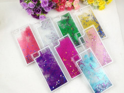 2015 newest Transparent Plastic Bling 3D Moving Liquid Gold Star Cover Case For Iphone 6
