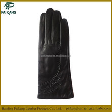 Ladies' wool lined pu leather gloves