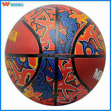 best sale new pattern 8 panel inflatable rubber basketball for 7 size