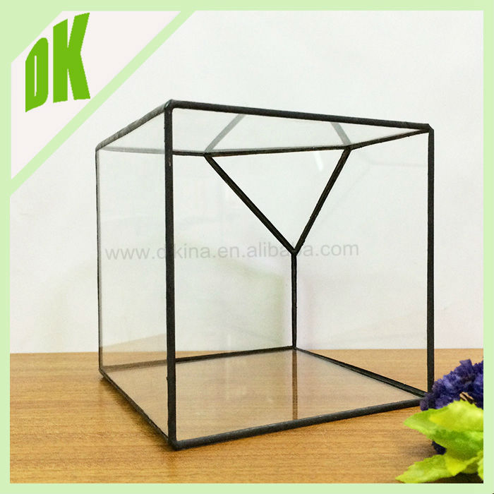 un 10 cm cube teint verre terrarium 10 cm cube cut off bord gros g om trique bubble. Black Bedroom Furniture Sets. Home Design Ideas