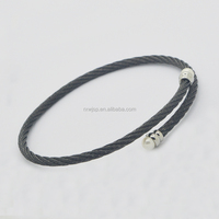 New Design Charm 316L Stainless steel 4MM lBlack Wire Bracelet Cuff End Open Bangle Women with fresh water pear