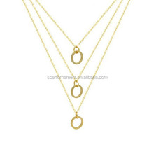 Top Design Gold Three Layer Thin Chain Plain Round Interlocking Rings Pendants Necklace For Women Evening Wear