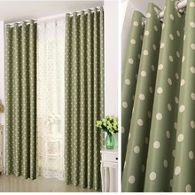 New contemporary patterned style ready blackout curtains with green printed