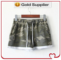 100%cotton camo full print women shorts