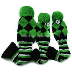 hand knitted, custom head cover, 3pcs personlized golf driver head covers #1 #3 #5 many colors for choice