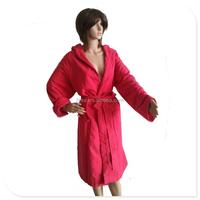 Absorbent hotel microfiber bathrobe ,Fuchsia hooded microfiber bathrobe/lounge robe