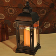 Gothic Style Rustic Matte-black Metal Garden Lantern With Glass Panels