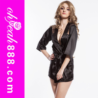 Hot sheer sex hot black satin dress lingerie babydolls
