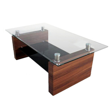 Silk-screen tempered glass cheap restaurant wholesale modern office mdf wooden coffee table