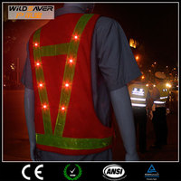 fashion clothes 2015 led police traffic safety vest red mesh warning safety vest