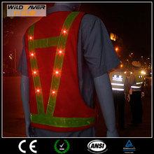 fashion clothes 2015 led police traffic safety vest red mesh warning safety vest