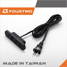 Taiwan made high quality vff 2.0 2c 1.8M 2 outlet power strip for dining table
