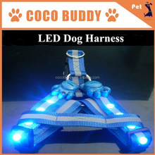Blue Color Diamond led safety glowing pet dog harness in factory price, OEM
