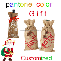 Christmas 1 bottle jute Wine Bottle gift shopping Bag