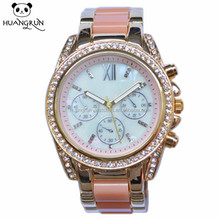 Mother of pearl shell dial bling bling CZ crystal hand watch for girl