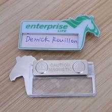 horse shape reuse name badge, metal name badge insert name card